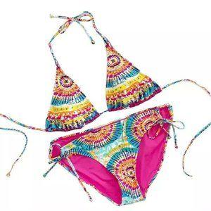 NWOT Xhilaration Tie Dye Studded String Bikini XL